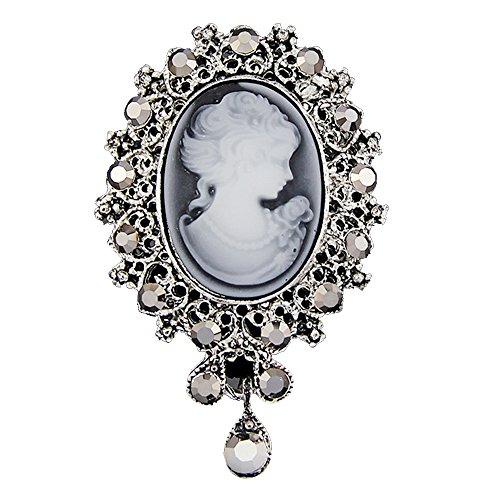 Vintage Königin Lady Portrait Brosche, Viktorianischen Design Crystal & Stahl PIN für Pullover, Schal, Mantel, Handtasche (Stil 1 Silber)- Samtlan (Pullover Antike)