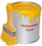 alles-meine.de GmbH Spardose - Farbtopf mit Pinsel -  Heimwerker Kasse  - Gelb - Stabile Sparbüc..