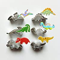 Cookie Cutters - Qintaiourty 6Pcs Stainless Steel Biscuit Cutters Dinosaur Animal Cookie Cutters Set for Baking Cookie Bakeware Decoration