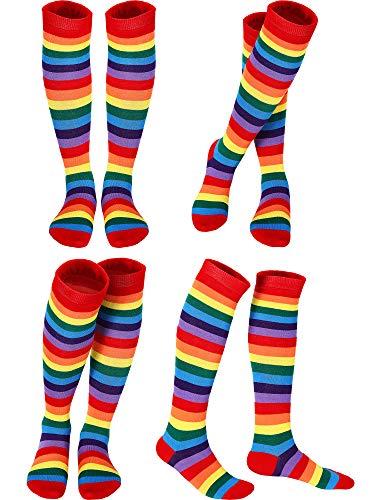 SATINIOR 4 Paar Regenbogen Streifen Kniestrümpfe Hohe Socken Baumwolle Bunte Streifen Clown Kniestrümpfe Hohe Socken Unisex Party Cosplay Socken für Erwachsene und Teenager Kostüm - Paar Socken Kostüm