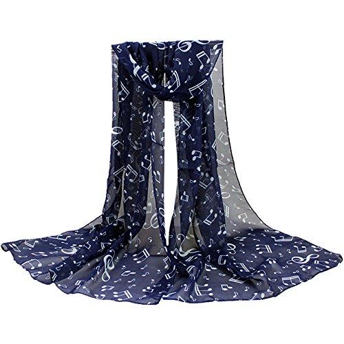 BHYDRY Schal Damen Elegant Temperament Musik Symbol Drucken Einfarbige Farbe Chiffon Halstuch Schal Muffler Schals Freundin Geschenk