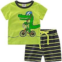 YAANCUN Niños Ocio 1-10 Años Ropa Chicos Manga Corta Escote Redondo Camisetas Y Pantalones Cortos(1 Conjunto)
