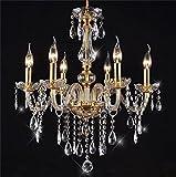 Homelava Kronleuchter Kristall Gold mit 6 Leuchten Durchmesser 58 cm für Wohnzimmer, Esszimmer, Hotel and Bar