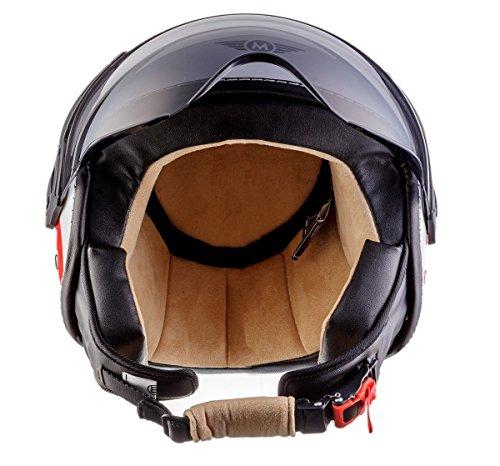 Moto Helmets H44 Italy · Retro Roller-Helm Vintage Mofa Jet-Helm Pilot Chopper Vespa-Helm Moto Helmetsrrad-Helm Scooter-Helm Biker Bobber Cruiser Helmet · ECE zertifiziert · inkl. Sonnenvisier · inkl. Stofftragetasche · Weiß · S (55-56cm) - 5