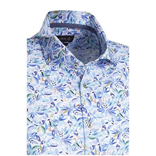 JACQUES BRITT Herren Hemd Custom Fit Brown Label 1/1-Arm Bügelleicht Fashion-Hemd Hai-Kragen Manschette weitenverstellbar blau (0013)