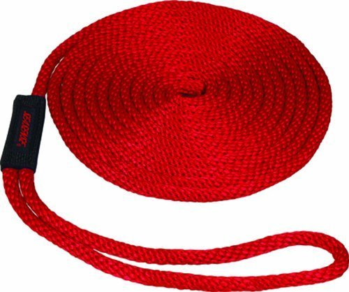 SeaSense Solid Braid MFP Dock Line with Chafe Guard, 1/2-Inch X 15-Foot, Red by Unified Marine, Inc.