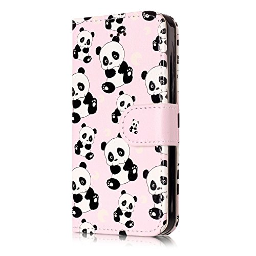 iPhone 5 Flip Handycover, iPhone 5S Bunte Stil Schutzhüllen, Aeeque® Slim Full Body Premium [Standfunktion Kartenfächer] Malerei Girl Pink Marmor Muster Handy Schutz Hülle Wallet Case Cover Schale für Kind Panda