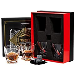 Idea Regalo - Finether 4 Bicchieri da Whisky in Cristallo con 4 Pietre di Granito Riutilizzabili, 340ML Bicchieri da Vino/Set di Whisky Stones Senza Piombo per Whisky, Cocktail,Bourbon,Succo, Regalo per Uomo