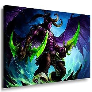 World of Warcraft Ilidan Leinwandbild LaraArt Bilder Mehrfarbig Wandbild 40 x 30 cm