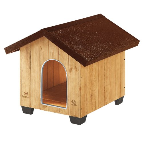 Ferplast 87002000 Hundehütte DOMUS MEDIUM, aus Holz, Maße: 73 x 85 x 67,5 cm