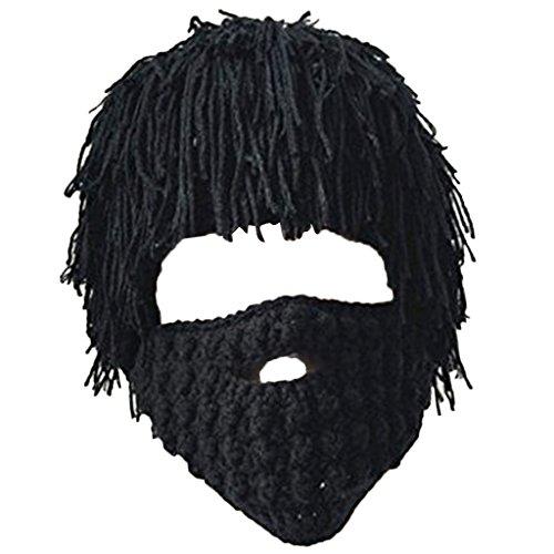 Homyl Strickmütze Bartmütze Beanie Häkeln Wollmütze Windschutz Mütze Skimütze Halloween Party Mütze - Black 1, 49cm-51cm