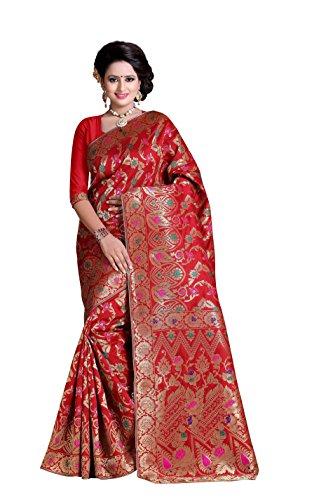 Wedding Villa Women's Cotton Silk Saree With Blouse Piece (Af_28_Red)