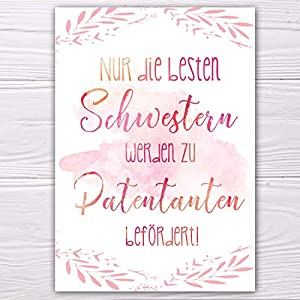 """A6 Postkarte""""Nur die beste Schwester wird zur Patentante befördert!"""" in rosa Glanzoptik Papierstärke 235g/m2 Geschenk Schwester"""
