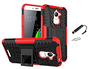 TCA Coolpad Note 3 Lite Kickstand Hybrid Dual Armor Back Case Cover For Coolpad Note 3 Lite - Red + Mini Stylus + Eject Pin