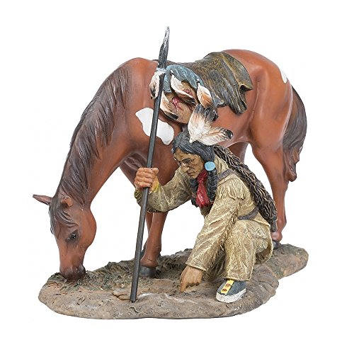 A.G.S. Deko Indianer Figur Krieger auf Spurensuche Dekoration Indianerfigur Wilder Westen