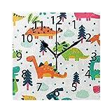 XiangHeFu Horloge Murale carrée 20,3 x 20,3 cm Silencieux Dinosaures Décoration pour la Maison, Le Bureau, l'école