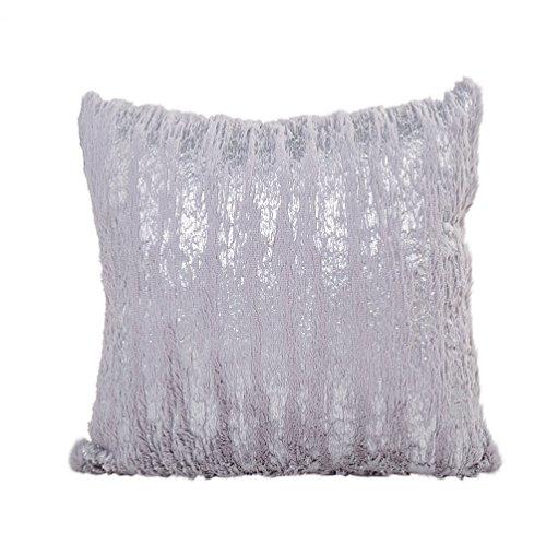 Doingshop, federa decorativa in peluche con paillette, per letto e soggiorno grey