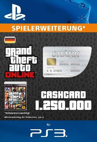 Grand Theft Auto Online   GTA V Great White Shark Cash Card   1,250,000 GTA-Dollars   PS3 Download Code - deutsches Konto