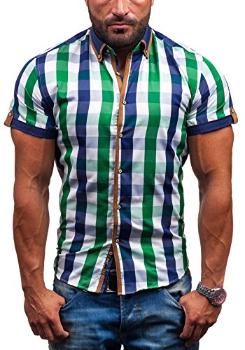 BOLF - Chemise casual – manches courtes – BOLF 5507-1 – Homme Vert