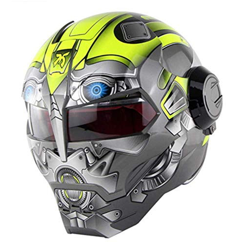 Motocross Helmet Adult Road Race Dakar Rally Mountain Personality Full Face Helmet Motorcycle Motor Vehicle Protective Gear Men and Women,Robot,XL(23.6