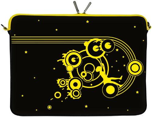 Digittrade LS161-17 Swing Designer Laptop Tasche 17 Zoll Notebook Sleeve Hülle Schutzhülle Neopren bis 43,9 cm (17,3 Zoll) Bag Case Muster schwarz-gelb