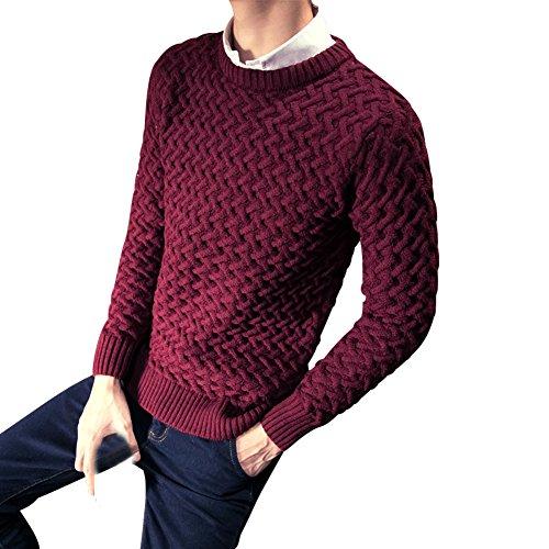 BOMOVO Herren Strickpullover Rundhals Pullover Sweatshirts Slim Fit Rot