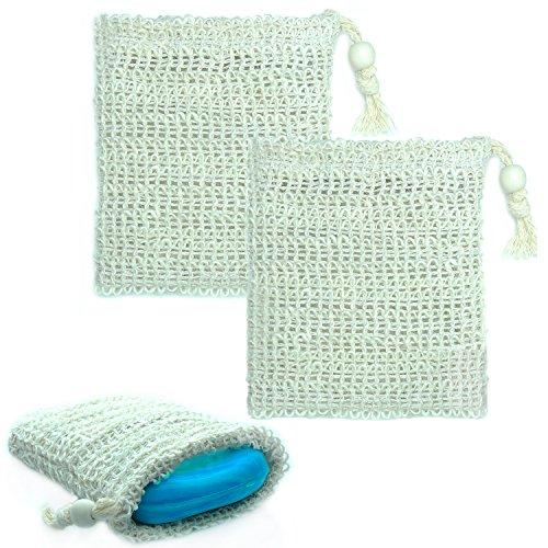 Sisal Seifensäckchen [2er Pack] ideal für Seifenreste & Seifen - Seifenbeutel aus Naturfasern zum aufschäumen und trocknen der Seife - Bio Seifensack mit Kordel