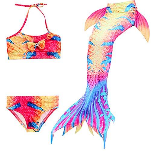 Finsink 3pcs 2018 Neue Mädchen Badeanzug Cosplay Kostüm Meerjungfrau Badebekleidung Bikini Sets Mädchentraum,3-9 Jahre alt (140, Marguerite bunt)
