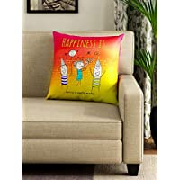 Portico new york happiness is multicoloured printed square cushion 40 cm x 40 cm