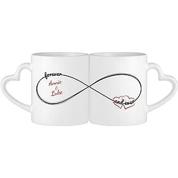 Set de 2 Tasses avec anse en coeur - Inscription romantique - Personnalisées  avec  NOMS 9bf745054bc