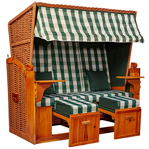 intergrill Strandschönheiten Gina Ostsee XXL Strandkorb 2,5-Sitzer Vollholzfront Verschiedene Dekor innen außen für Balkone Terrassen Wintergärten Garten Lounge KD4BBX