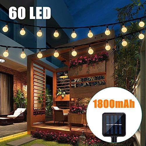 Bteng Solar-Lichterkette für den Außenbereich, 10 m, 60 LEDs, solarbetrieben, Lichterkette für Garten, Haus, Landschaft, Urlaub, Dekoration Urlaub Led