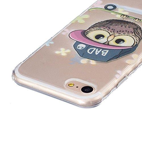 Coque Housse pour iPhone 7 Plus/iPhone 8 Plus, iPhone 8 Plus Coque Silicone Etui Housse, Galaxy S6 Souple Coque Etui en Silicone, iPhone 7 Plus Silicone Transparent Case TPU Cover, Ukayfe Etui de Prot Hibou