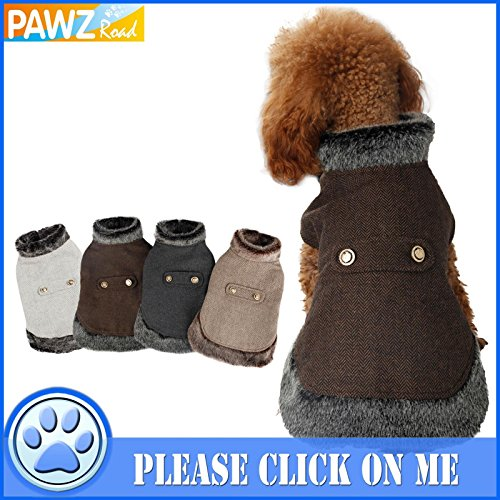 Pawz Road Dog Pet Cat Winter Warm Coat Jacket Woolen Clothes Faux Fur Collar in 4 Colors 4 Sizes