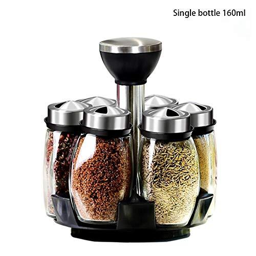 YAJAN-SpiceTank Spice Box Set Salzstreuer Gewürzflasche Salz- und Pfefferstreuer Glas mit Lochabdeckung Drehhalterung Küchenarbeitsplatte 160 ml (6 Dosen)