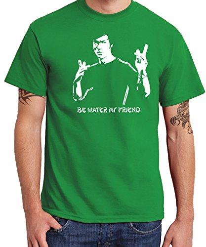 -- Be Water -- Boys T-Shirt Kelly Green, Größe M Green Dragon Kung Fu