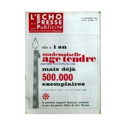 ECHO DE LA PRESSE DE LA PUBLICITE ET DES RELATIONS PUBLIQUES (L') [No 543] du 25/11/1965