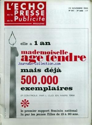 Echo de la presse de la publicite et des relations publiques (l') [no 543] du 25/11/1965 EPUB Téléchargement gratuit!