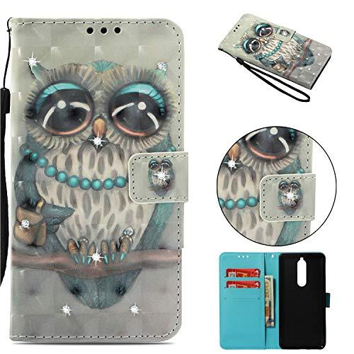 BONROY Hülle Case für Nokia 5.1,Lederhülle PU Leder Flip Tasche Klappbar Schutzhülle Handyhülle mit [Ständer Funktion]-(3D Punktbohrer - graue Katze)