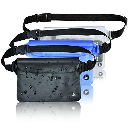 (3 Pack) Wasserdichte Tasche Beutel Handyhülle für Taille oder Schulter ideal zum Segeln, Wandern, Schwimmen, Angeln - sicherste Weg, Ihre Produkte trocken - 100% Garantie auf Lebenszeit