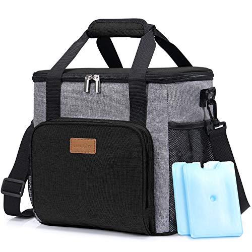 Lifewit 15L Kühltasche Picknicktasche Lunchtasche Mittagessen Tasche Thermotasche Kühltasche Isoliertasche für Lebensmitteltransport,schwarz,mit Kühlakkus und Flaschenöffner