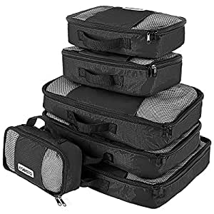 Savisto Packing Cubes, 6-Piece Best Value Suitcase Organiser, Compressible Luggage Cubes, Ideal for Holiday Baggage, Backpacking, Air Travel, Laundry & Home Storage - 6 Colour Options - Black