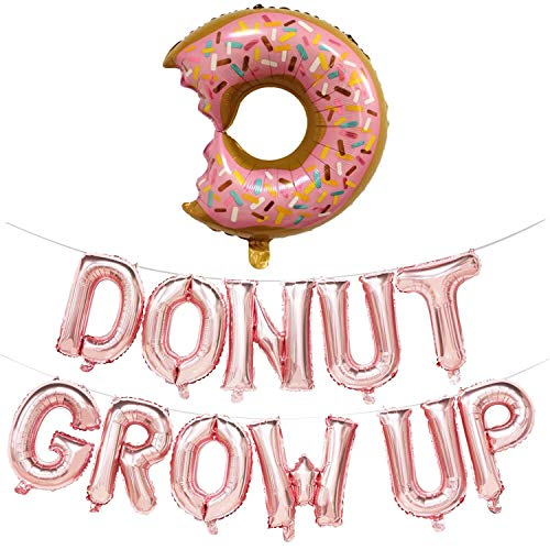 Donut Folienballon aufwachsen Luftballons Banner Kinder Geburtstag Partydekorationen für Baby Dusche Junge Mädchen Donut Thema Party Supplies (Rose Gold Brief Ballon) (Einen Jungen Für Baby-dusche-thema)