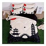 CSYPYLE Bettwäsche Set Heimtextilien Kreative Chinesischen Stil Architektur Muster Weiche Bequeme Bettbezug Bettlaken Schlafzimmer Bettwäsche Kit, 1,5 Mt