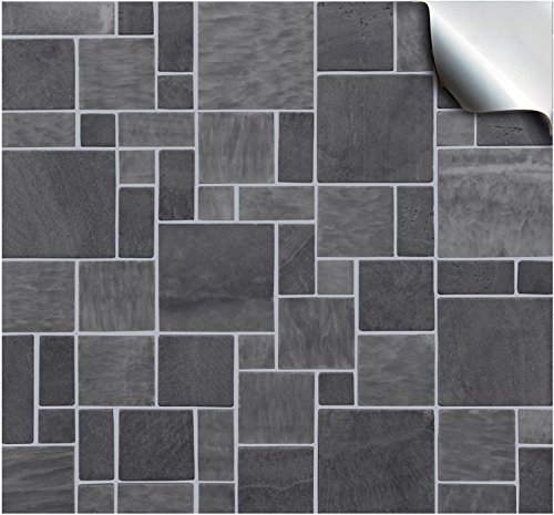 2 Dark Grey - Self Adhesive Mosaic Wall Tile Decals For 150mm (6 inch) Square Tiles –(TP31)- Realistic Looking Stick On Wall Tile Transfers Directly From the Manufacturer: TILE STYLE DECALS, No Middleman -- Peel and Stick on Tile to Transform your Kitchen