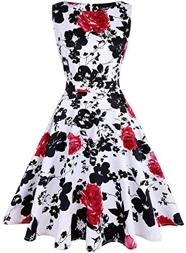 OWIN Damen Vintage 1950 Blumen Frühling Garten Picknick Kleid Party Cocktailkleid -