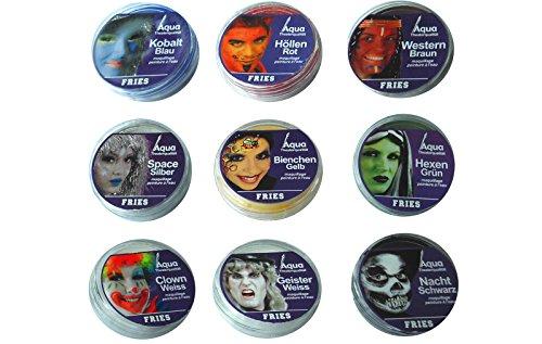 Theaterschminke farblich sortiert, 9 verschiedene Aquarfarben (Space (Cowboy Kostüm Space)