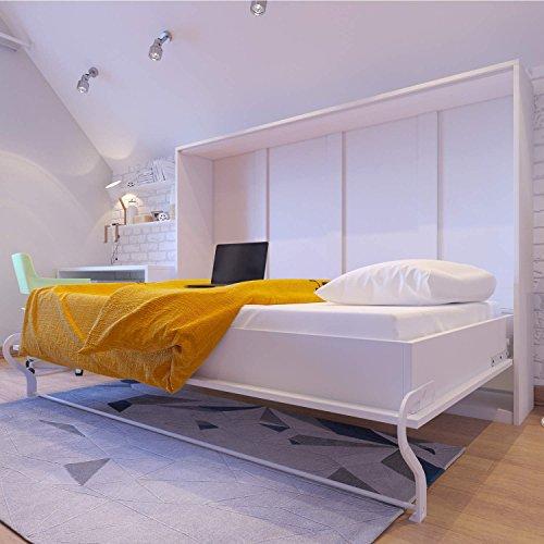 Schrankbett 140x200 weiss, ideal als Gästebett - Wandbett, Schrank mit integriertem Klappbett, SMARTBett