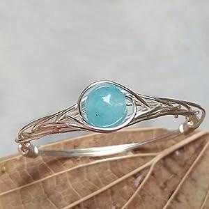 18 (15.75-21.25 Verfügbar) Natürliche Aquamarin Stein Sterling Silber String Wicklung Edelstein Handgefertigt Ring