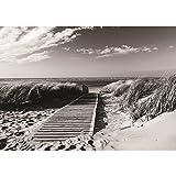 Vlies Fototapete PREMIUM PLUS Wand Foto Tapete Wand Bild Vliestapete - Strand Steg Wasser Meer Sand - no. 1720, Größe:416x254cm Vlies
